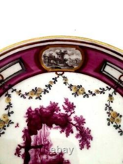 Ludwigsburg Porcelain Finest Cup & Saucer Puce Scenes & Miniature Panels C1765