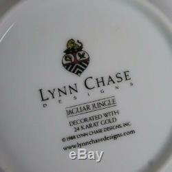 Lynn Chase Jaguar Jungle Black Border Animals Flowers 8 Cups & Saucer