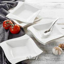 MALACASA AMPARO Porcelain Dinnerware Set Plates Bowls Mug Saucer Tableware White