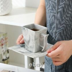 MALACASA Flora 30pcs Grey Marble Dinnerware Set Porcelain Saucer Soup Plate Cup