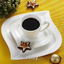 MALACASA, Series Elvira Porcelain Dinnerware Set White Tableware Service for 6