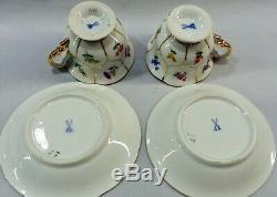 MEISSEN German Porcelain Scattered Flowers DEMITASSE TEACUP CUP& SAUCER GOLD S/2