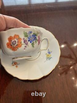 MEISSEN Hand Painted FLOWERS Porcelain COFFEE CUP & Saucer