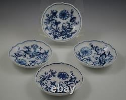 MEISSEN PORCELAIN crossed swords BLUE ONION 3 CHOCOLATE CUPS AND SAUCERS