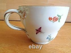 MID 19th Century Meissen Porcelain Cup And Saucer Painted With Birds And Insects