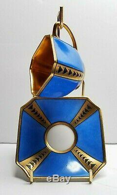 Mabensdorf Art Deco c1930's Blue & Gold Porcelain Demitasse Cup & Saucer Germany