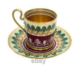 Manufacture De Sevres Porcelain Cup and Saucer, 1812-1824