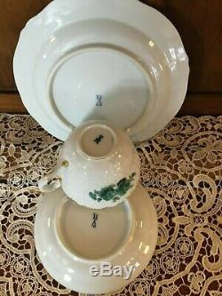 Meissen Copper Green Floral Porcelain Tea Cup, Saucer and Dessert Plate