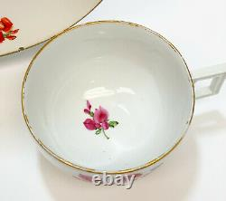 Meissen Marcolini Germany Hand Painted Porcelain Cup & Saucer, Flowers
