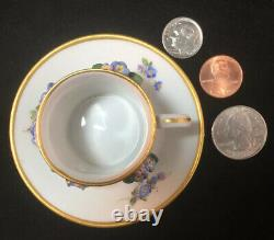 Meissen Miniature Porcelain Cup & Saucer Applied Flowers