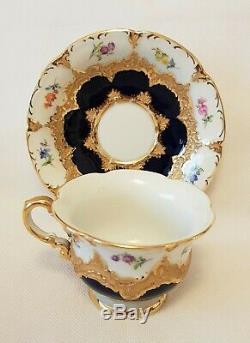 Meissen Porcelain Cobalt Blue & Floral Gold Encrusted Demitasse Cup & Saucer Set