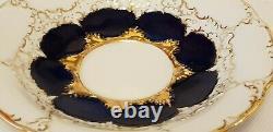 Meissen Porcelain Cobalt Blue & Gold Encrusted Demitasse Cup & Saucer Set