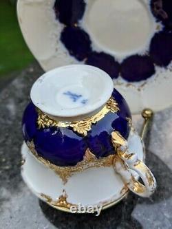 Meissen Porcelain Cobalt Blue & Gold Prunk Pattern Demitasse Cup & Saucer Set