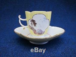 Meissen Porcelain Cup & Saucer Quadrofoil Yellow Ground Decor Genre Scenes