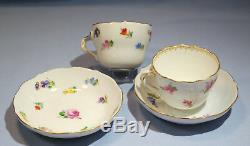 Meissen Porcelain Espresso 2 Cups & Saucers Floral Motifs L. 19th/E. 20th C