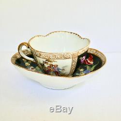 Meissen Quatrefoil Cup Saucer Hand Painted Porcelain Germany C19th Antique