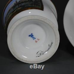 Meissen Tasse Prunktasse Dresden Ansichtentasse UT cup saucer porcelain