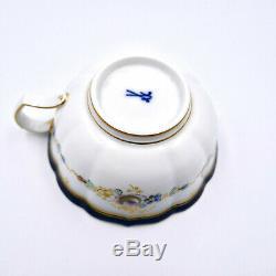 Meissen Tea Cup Saucer Floral Hand Painted Cobalt Gold Porcelain Germany Vintage