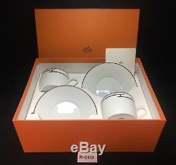 Mint HERMES Paris Cup Saucer set Rythem Rhythm White and Red R-0138 Porcelain