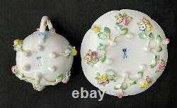 Mint Meissen Porcelain 6 Footed Cup & Saucer With Applied Flowers Crossed Swords