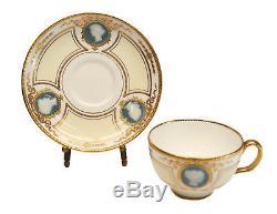 Minton Porcelain Pate-Sur-Pate Cameo Portrait Cup & Saucer, 1928. 2 Available
