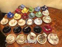 Mixed 28 Cups 28 Saucers German CZK Arabia Jlmenau Bavaria Coffee Porcelain Set