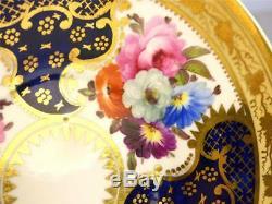 N627 C1820 ANTIQUE COALPORT PORCELAIN CUP & SAUCER FLOWERS COBALT BLUE P. 1215 a