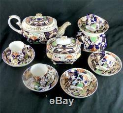 N937 C1820 Antique Derby Porcelain Imari Decorated Teaset Teapot Cups Saucers