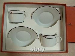 NEW Authentic HERMES Rythem Porcelain 2 Set Cup and Saucer'red