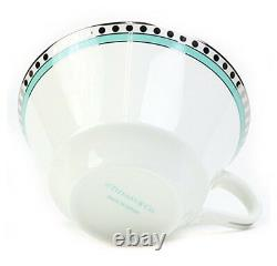 NEW Tiffany & Co Cup Pair Cup Platinum Blue Band Cup and Saucer 130ml gift F/S