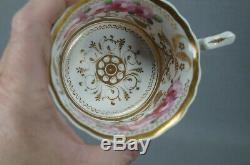 New Hall Pattern 2901 Pink Rose & Gold Porcelain Tea Cup & Saucer C. 1820-1825 A