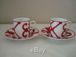 New Hermes Balcon du Guadalq White Red Porcelain Coffee 2 Tea Cups and Saucers