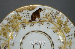 Old Paris Porcelain Hand Painted Dogs Hare Fox Raised Gold Floral Peach Tea Cup