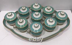 Old Paris Porcelain Pot De Creme Set 19thC French Empire Turquoise Cups Tray Lid