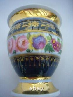 PORCELAIN DE PARIS CUP AND SAUCER MUTICOLORED ROSES AND GOLD XIXct