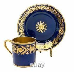 Pair Manufacture De Sevres France Porcelain Cobalt Blue Cup and Sacuers 1847