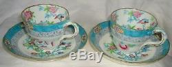 Pair Of Antique English Minton Porcelain Cup And Saucer Hand Painted