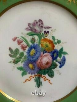Pair of 18th century Sevres green ground porcelain plates plate insects floral