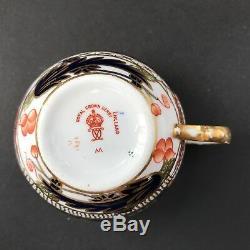 Pair of Antique Royal Crown Derby Old Imari Porcelain Cups & Saucers 1907