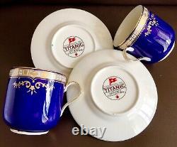 Pair of Rare Titanic Artefact Collection Cobalt Blue Porcelain Cups & Saucers
