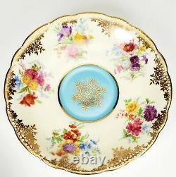 Paragon Porcelain Tea Cup & Saucer Gold Teal Wildflowers Floral RARE