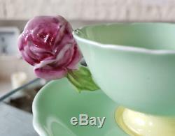 Paragon Porcelain rose handle Green1 Cup&Saucer Vintage 1940s tableware623