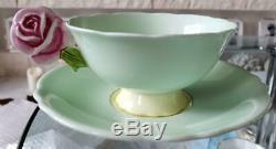 Paragon Porcelain rose handle green2 Cup&Saucer Vintage 1940s tableware620