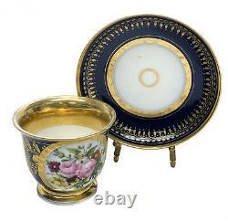 Paris Porcelain French Sevres Style Cup & Saucer, 19th Century. Floral Bouquet