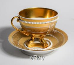 Paris Porcelain Tea Cup & Saucer Gold Gild with Handpainted Flowers