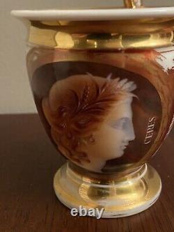 Paris Schoelcher Porcelain Cup&Saucer Antique Hand Painted Cameo Portrait Ceres