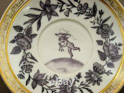 Porcelain Cup & Saucer Paris Empire By Dagoty Around 1800