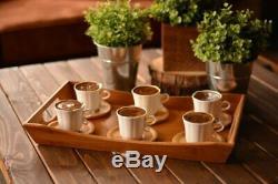 Porcelain Turkish, Greek Coffee Set, 6 Espresso Cups & 6 Bamboo Saucers