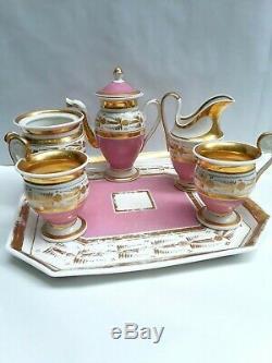 Pretty Pink Antique Vieux Old Paris Porcelain Childs Tea Set