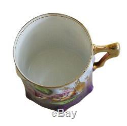 RARE Antique Coffee Tea Pair Saucer Cup Kuznetsov Verbilki Russia Porcelain XIXc